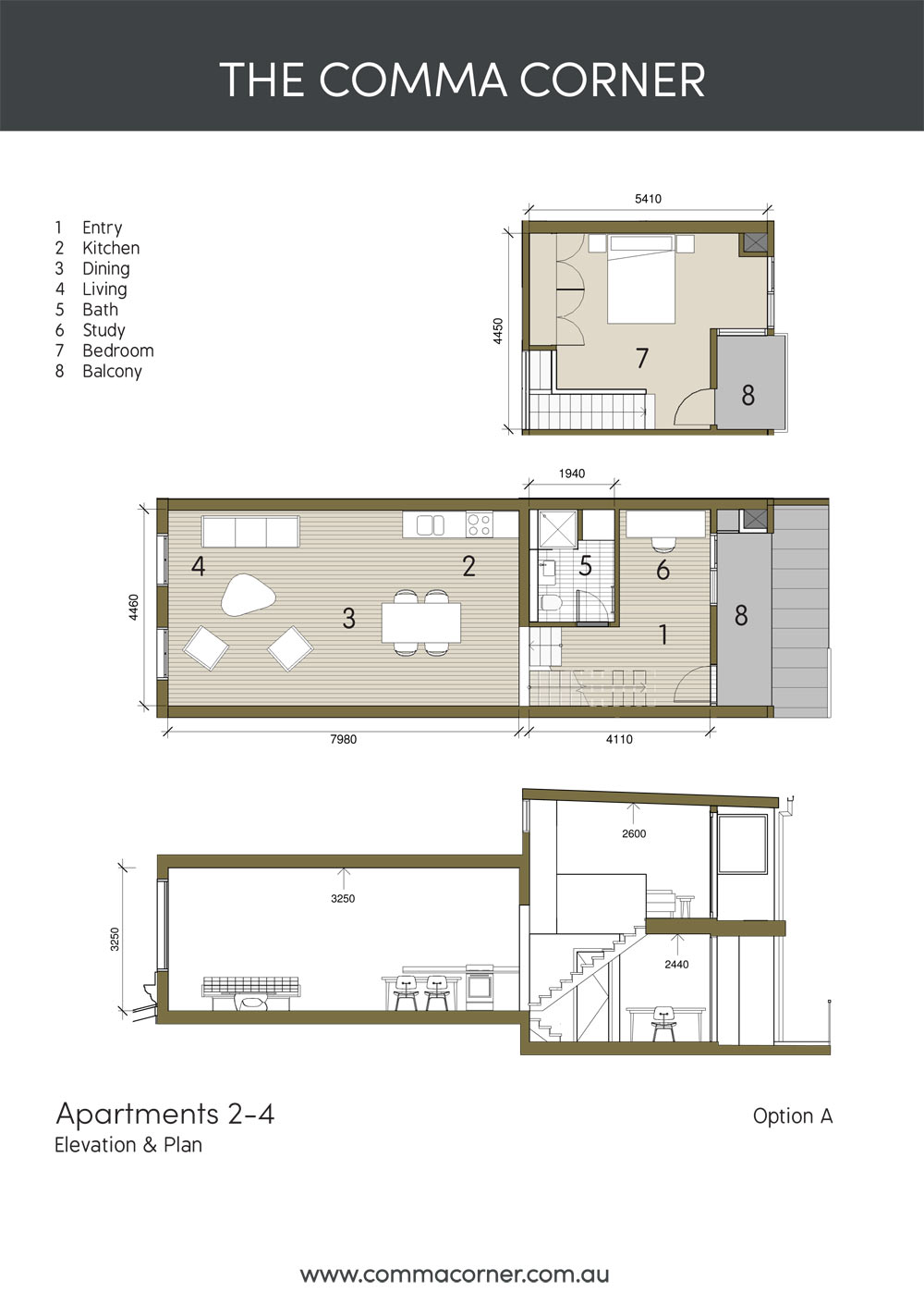 elevation and plan apartments 2 to 4